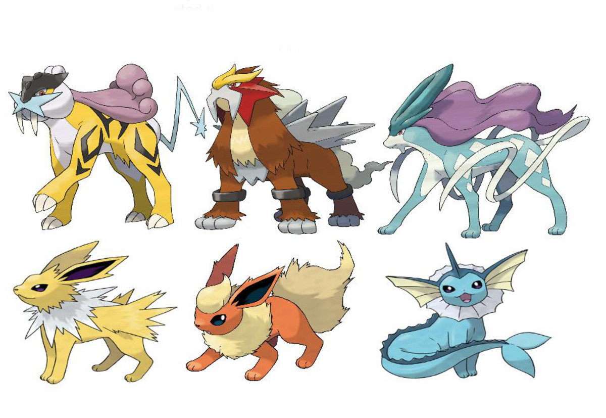 The three legendary beasts along with Jolteon, Flareon, and Vaporeon
