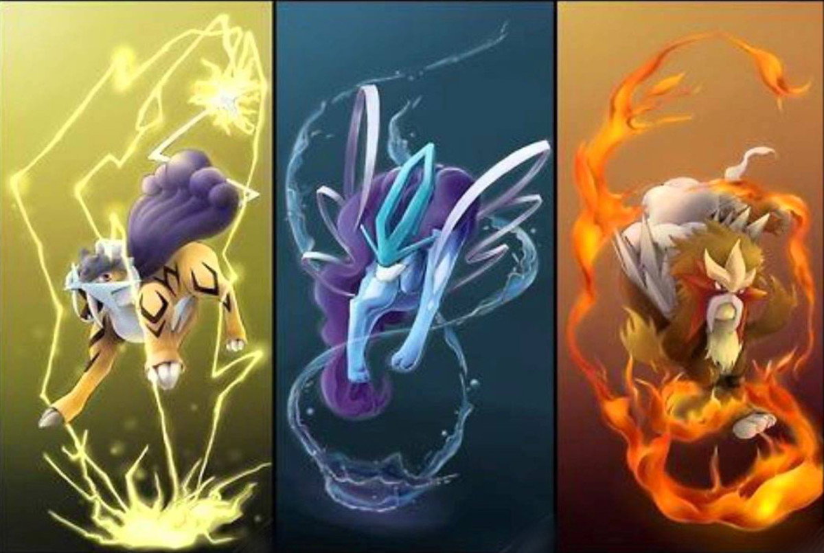 Raikou, Suicune, and Entei