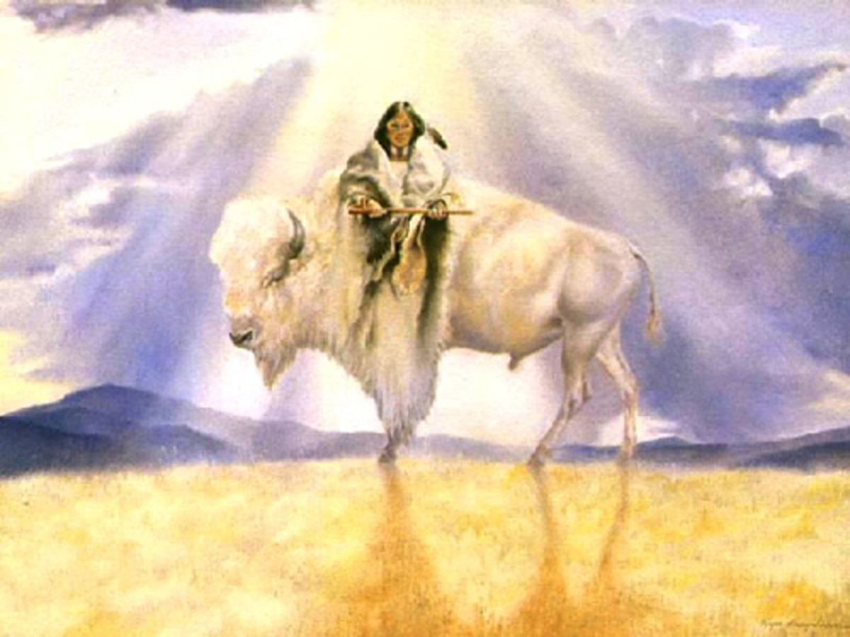 White Buffalo Calf Woman, Original artwork above by  Rogue Guirey Simpson, 1992