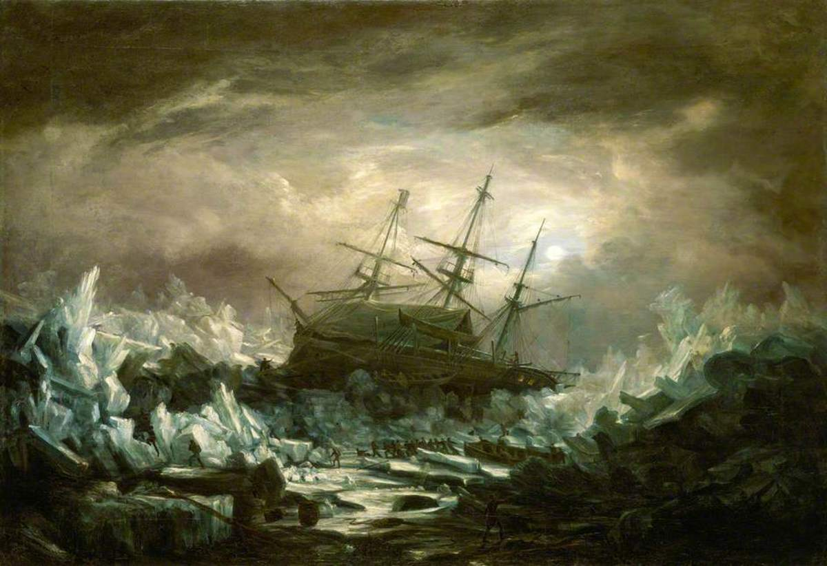 """""""Perilous Position of HMS 'Terror', Captain Back, in the Arctic Regions in the Summer of 1837"""". William Smyth (1800–1877)."""