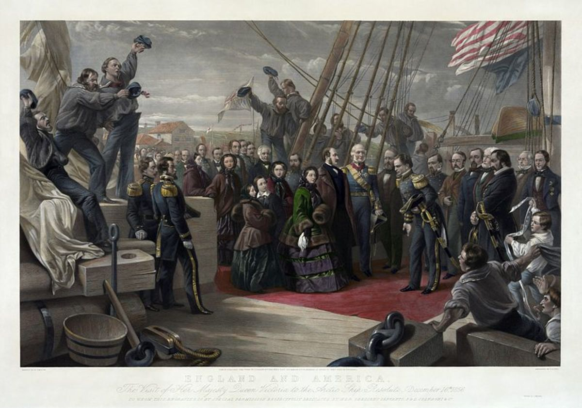England and America. The visit of her majesty Queen Victoria to the Arctic ship Resolute - December 16th, 1856, to whom this engraving is by special permission respectfully dedicated by her obedient servants, P. & D. Colnaghi & Co., an engraving by G