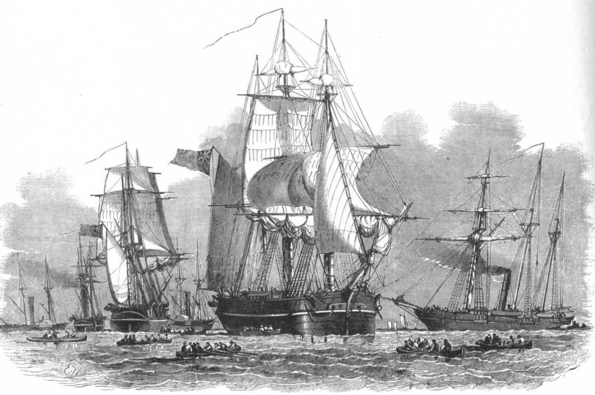 HMS RESOLUTE und Geschwader. Wood engraving, 1850.