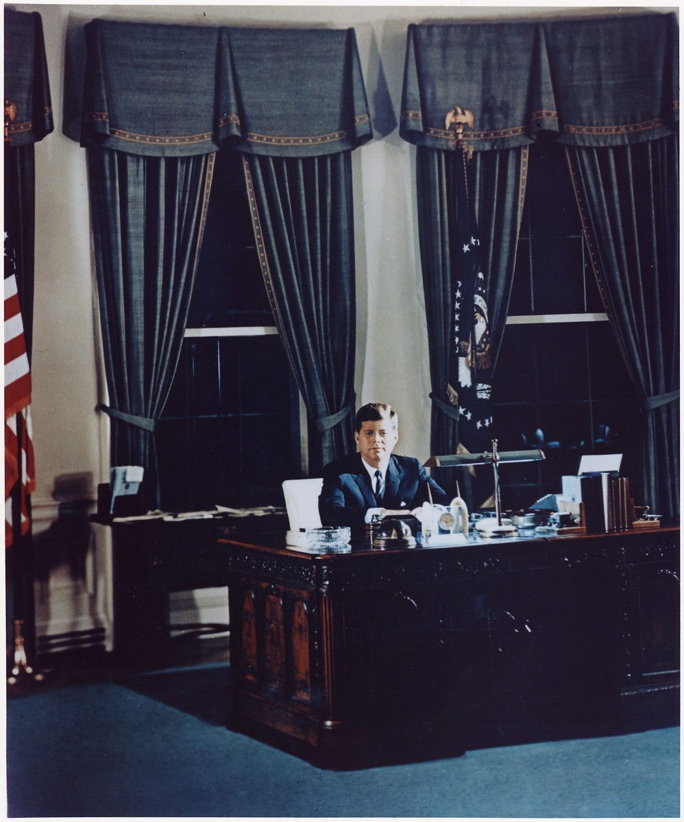 Portrait of President Kennedy at his desk. White House, Oval Office, November 2, 1961. Public Domain.