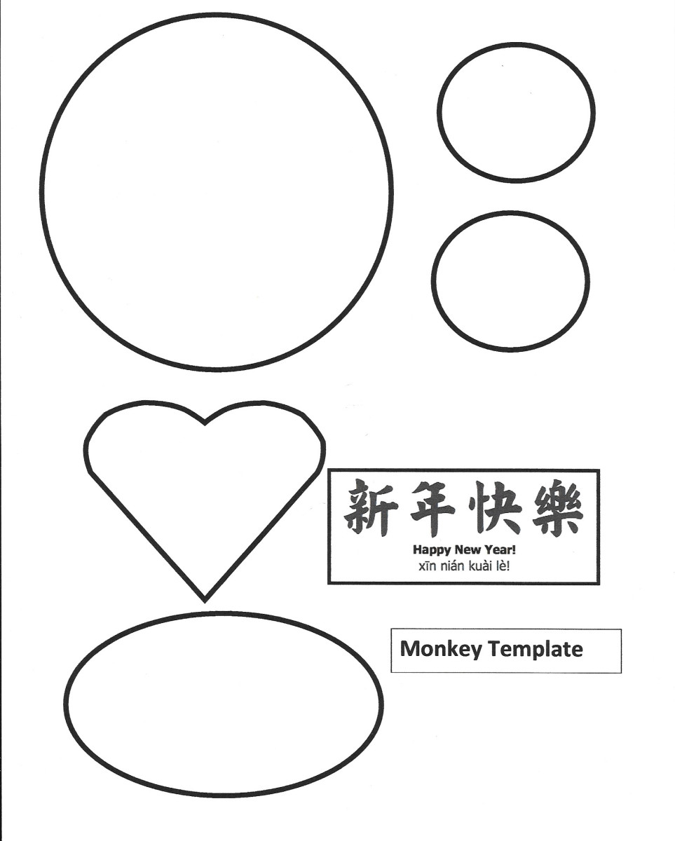 Large Monkey Face Shapes Printable Template -- Year of the Monkey