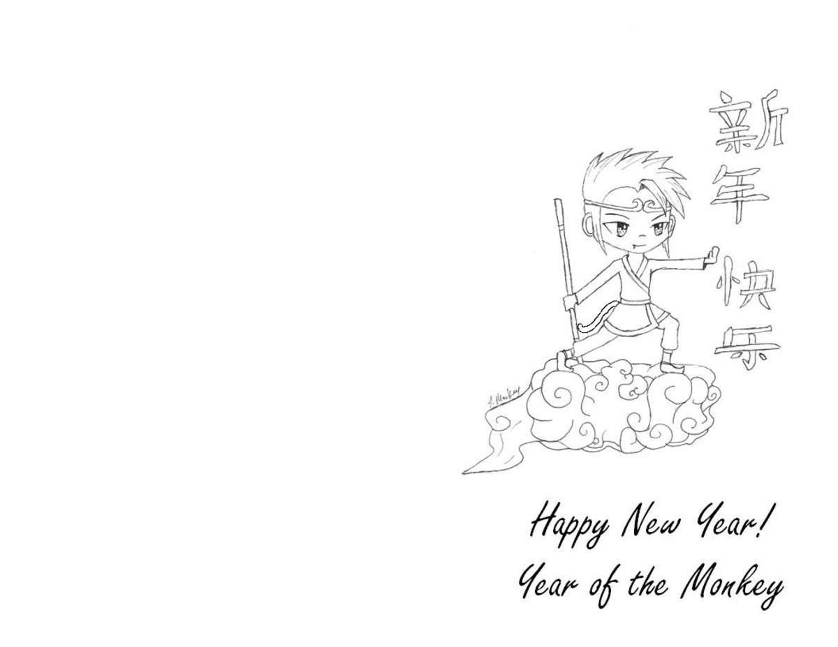 Monkey King on Year of the Monkey greeting card