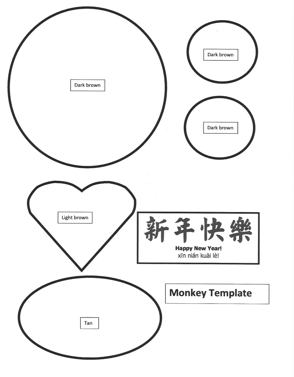 Large Monkey Face Printable Template --for cutting shapes out of colored paper -- Year of the Monkey