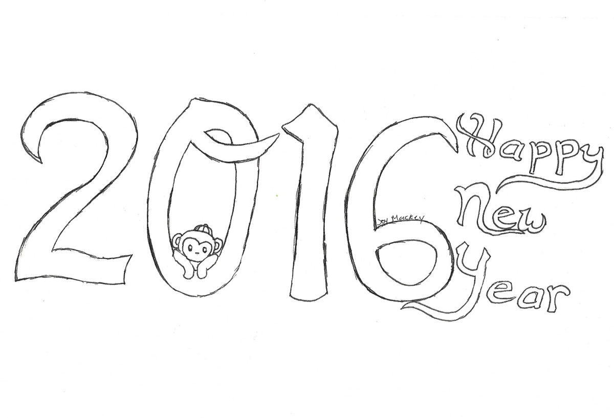 2016 Happy New Year printable coloring page :  Year of the Monkey