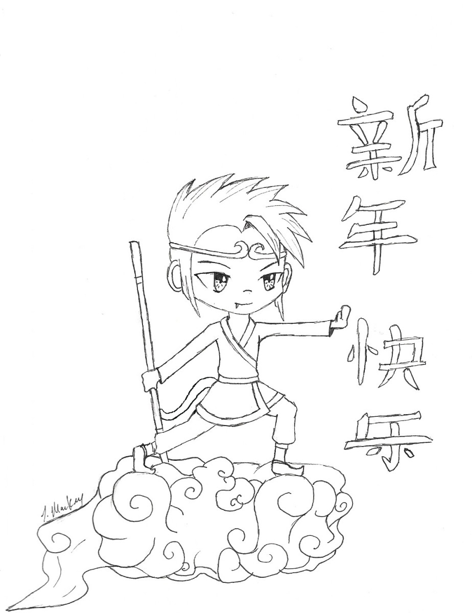 Monkey King Chinese New Year printable coloring page