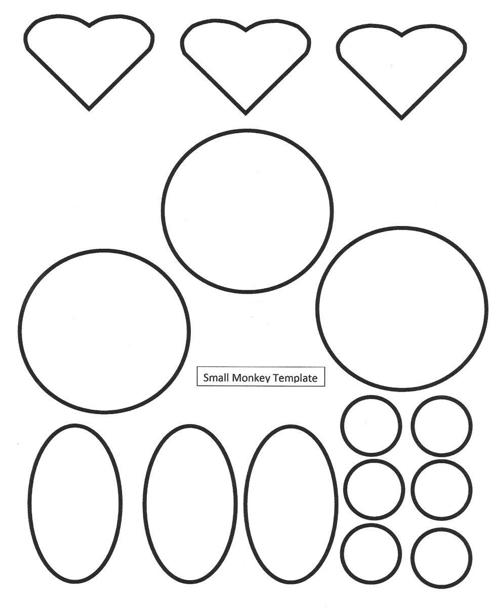 Small Monkey Face Shapes Template -- for coloring in -- Year of the Monkey