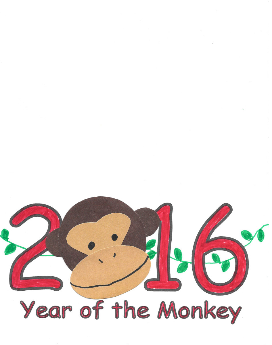 2016 Printable Card -- cut paper monkey face -- Year of the Monkey