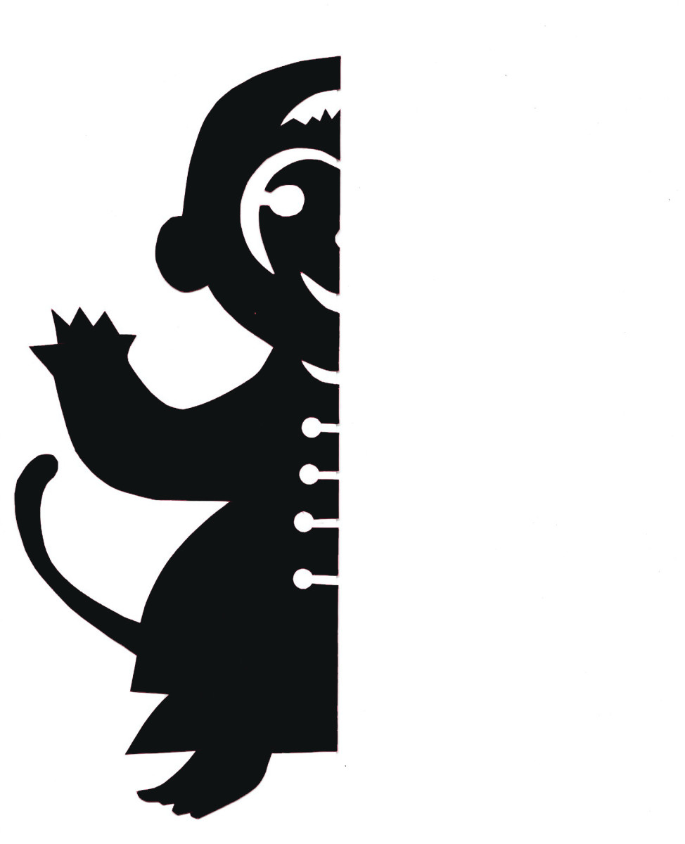 Left-side printable template for Chinese monkey papercut