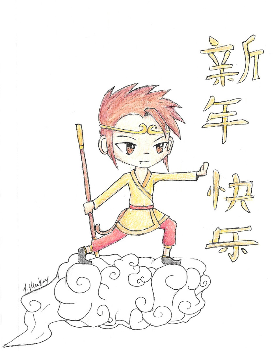 Drawing of The Monkey King with Happy New Year written to the side