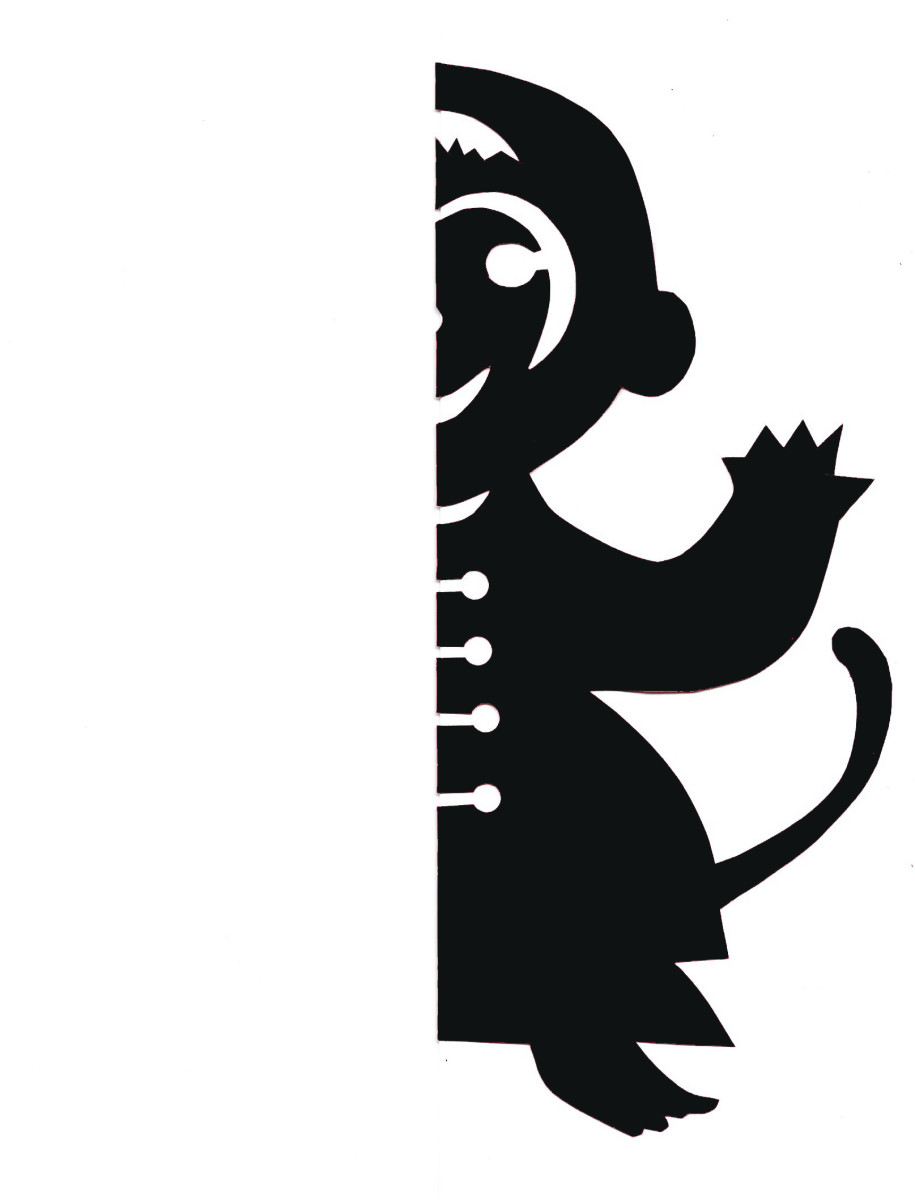 Right-side printable template for Chinese monkey papercut