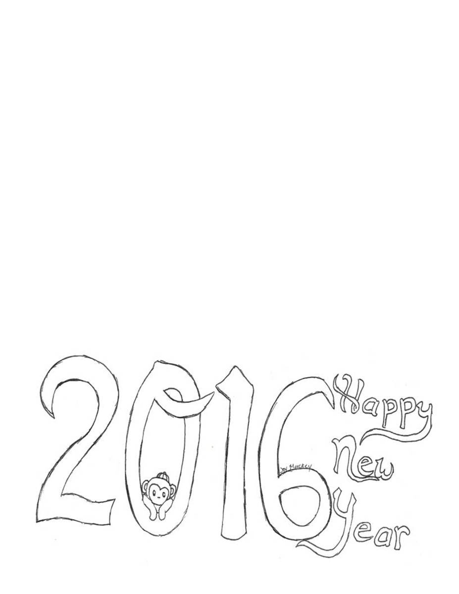 2016 Happy New Year printable card:  Year of the Monkey