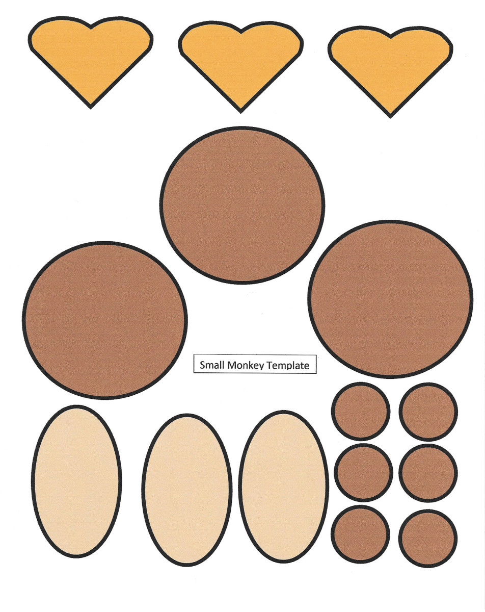 Small Monkey Face Shapes Printable Template -- colored in -- Year of the Monkey