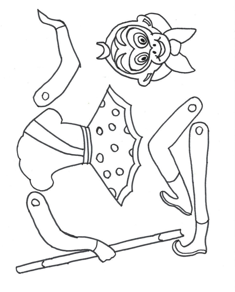 Printable template for the Monkey King puppet. To color and assemble. Year of the Monkey