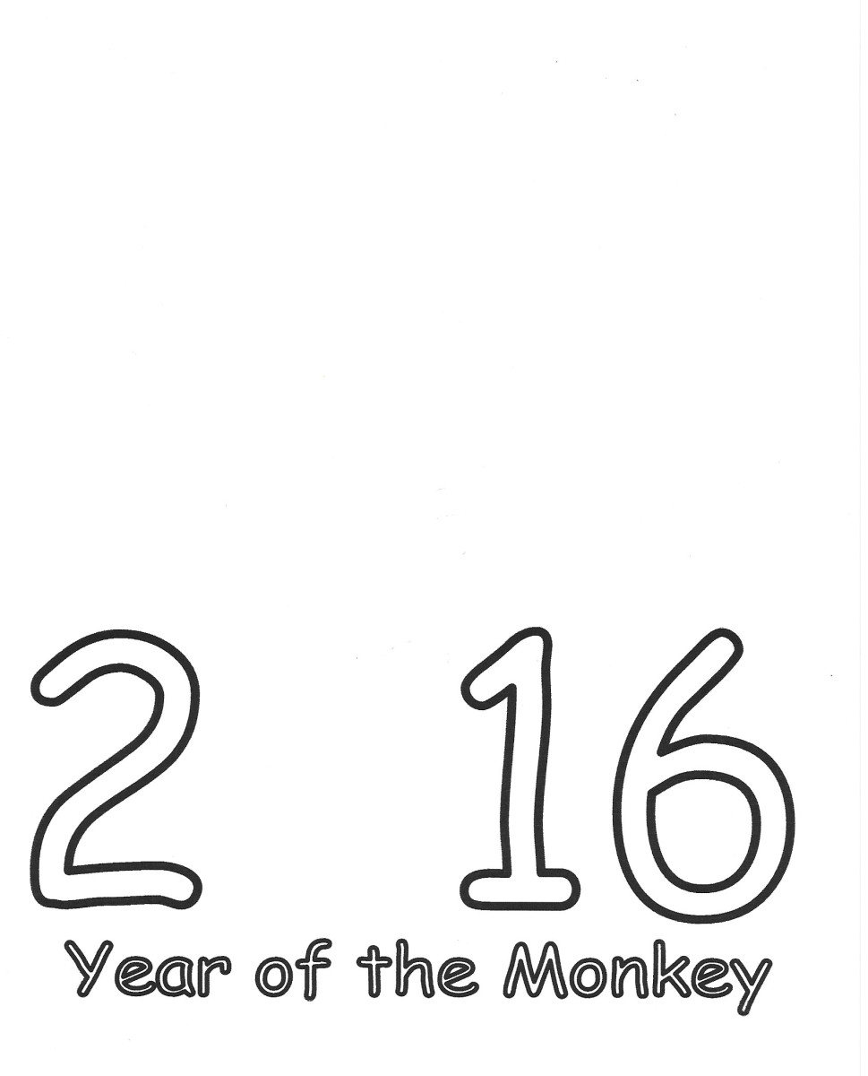 2016 Printable Card Template -- Place monkey face where the 0 would be -- Year of the Monkey