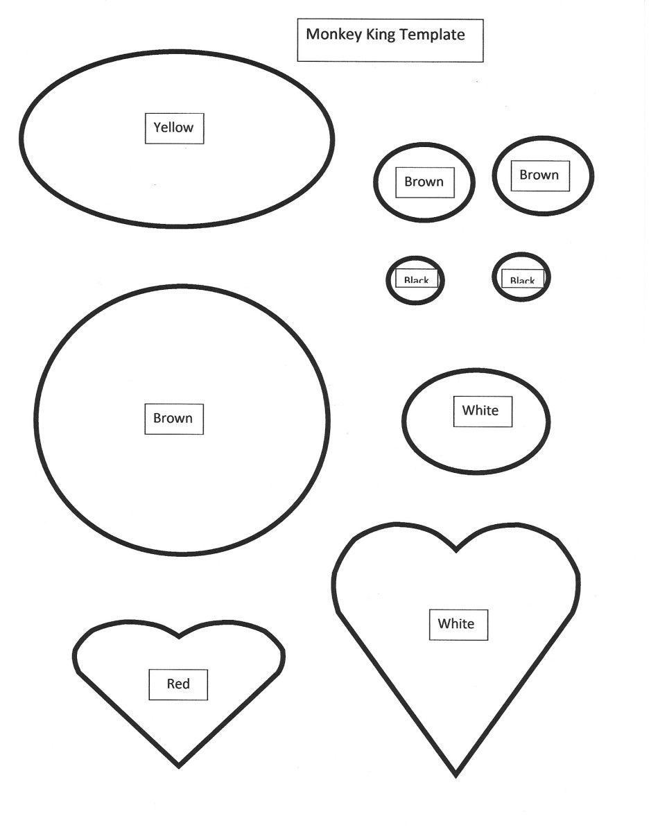 Monkey King Shape Picture Printable Template Colored In