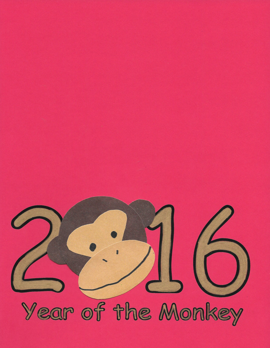 2016 Red Printable Greeting Card -- Year of the Monkey