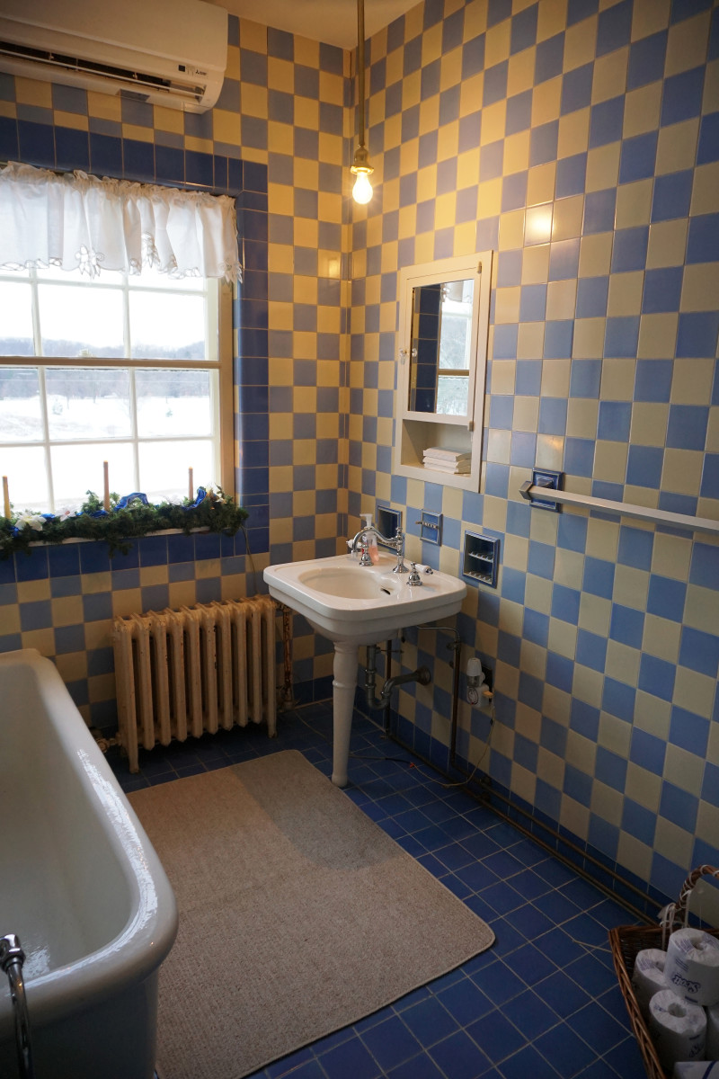 Felt Mansion Blue and Yellow Art Deco Bathroom