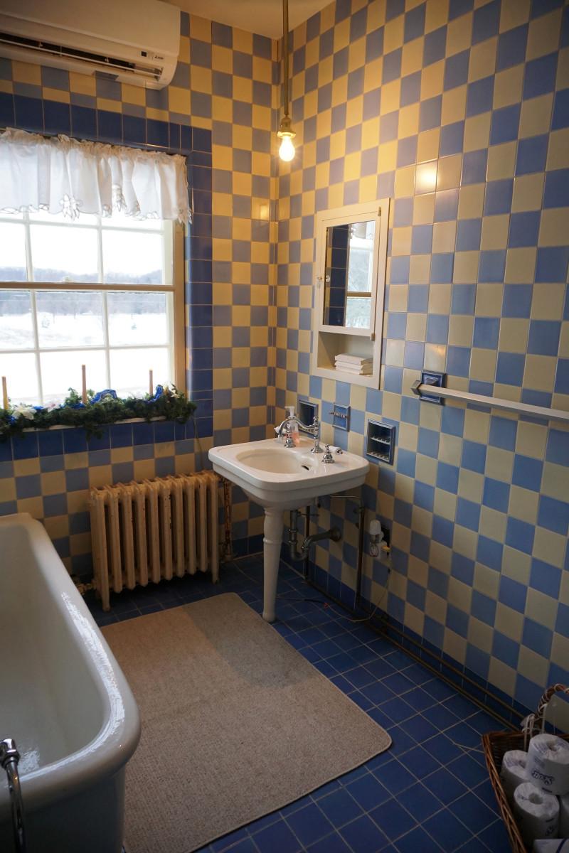 Felt Mansion Blue and Yellow Art Deco Bathroom
