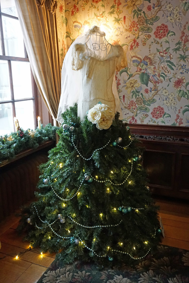 The Parlor of Felt Mansion Decorated for Christmas