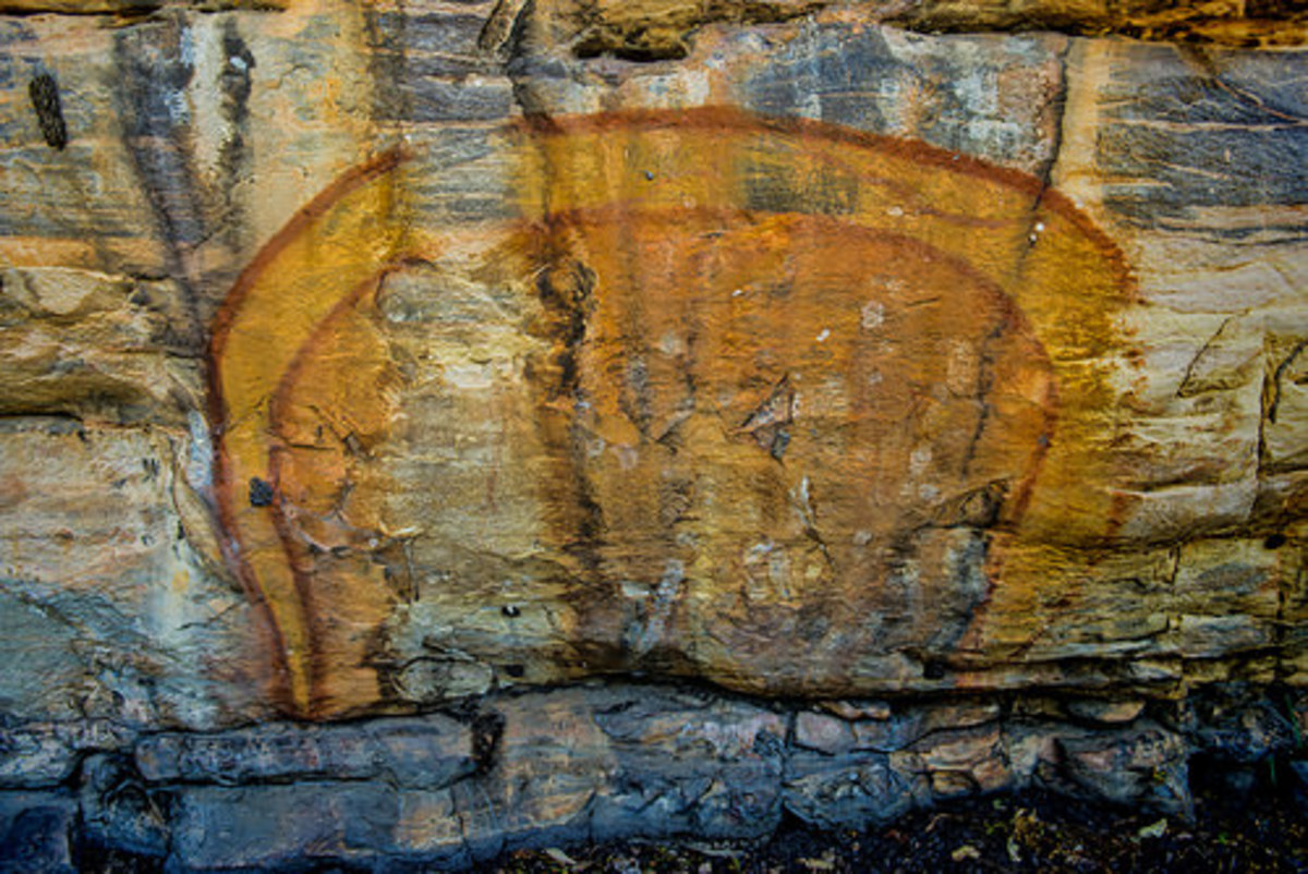 .. Rainbow Serpent, Aboriginal Rock Art, Ubirr, Kakadu National Park, Northern Territory,