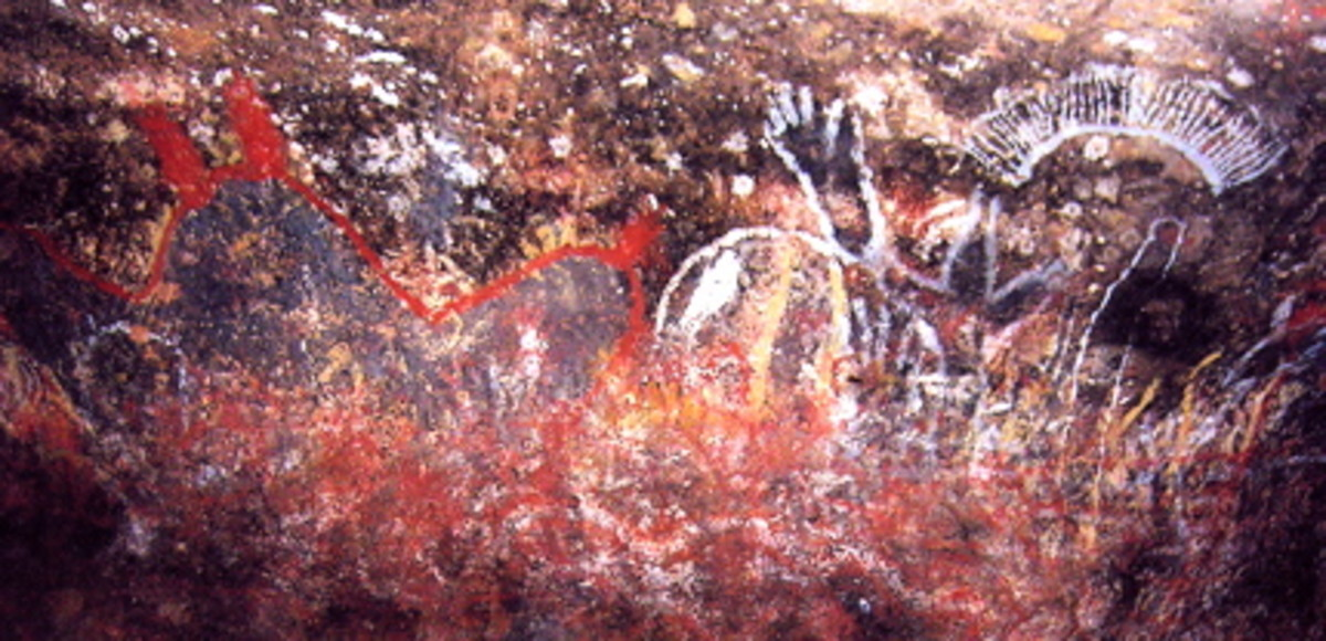 Aboriginal Cave Painting at Uluru