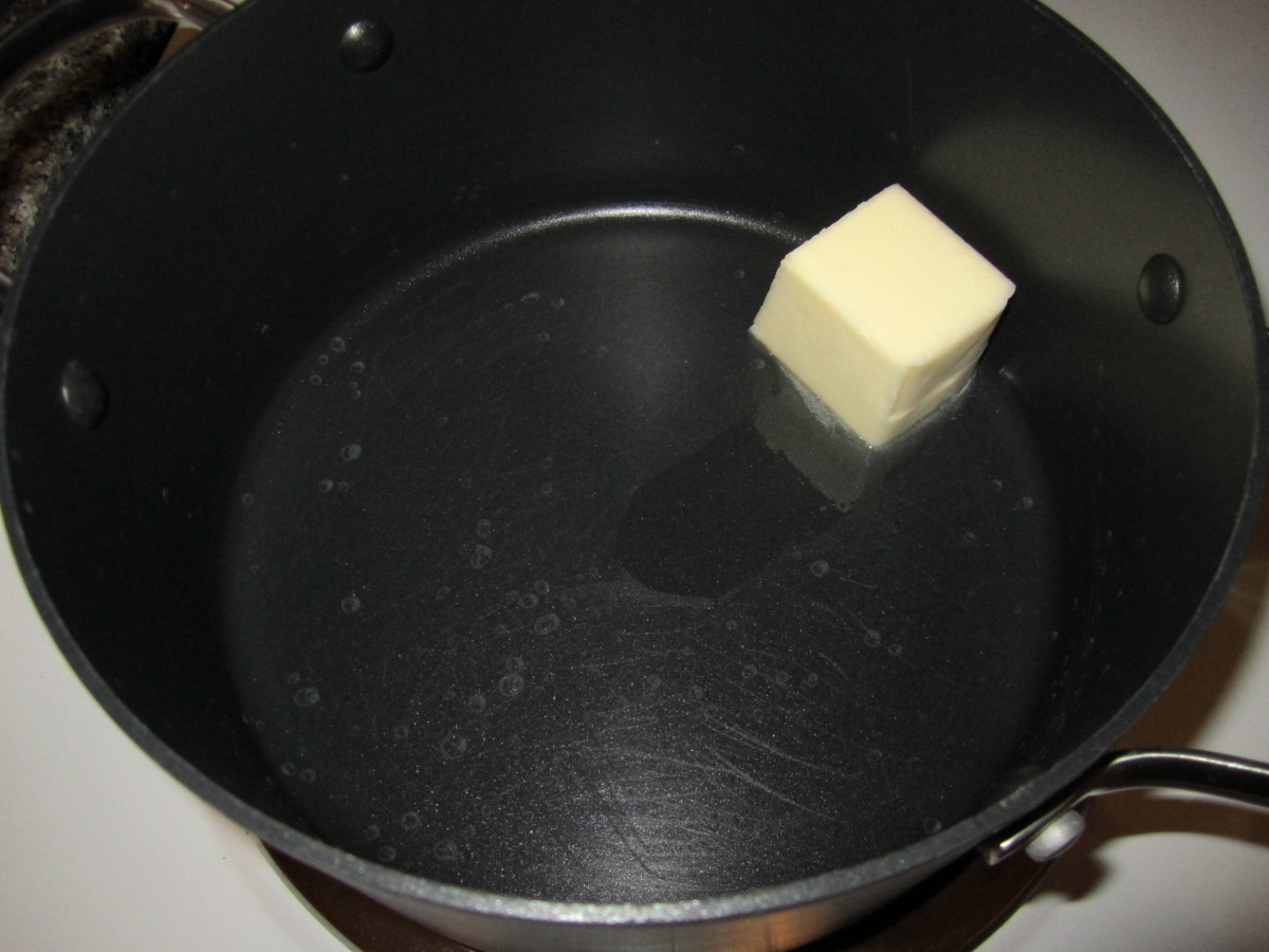 Step 3: Butter melting in soup pot.