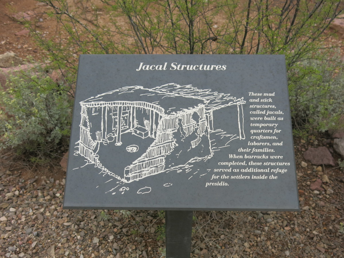 Jacal Structures were temporary quarters in the fort for craftsmen and others working inside the Presidio