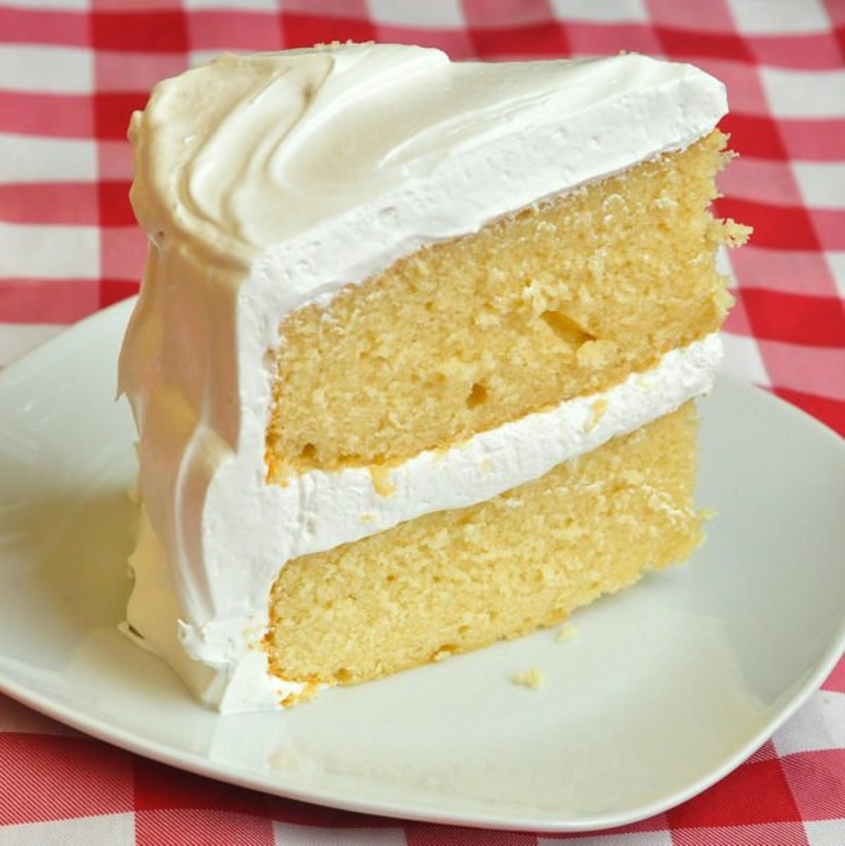 Vanilla cake with marshmallow frosting.