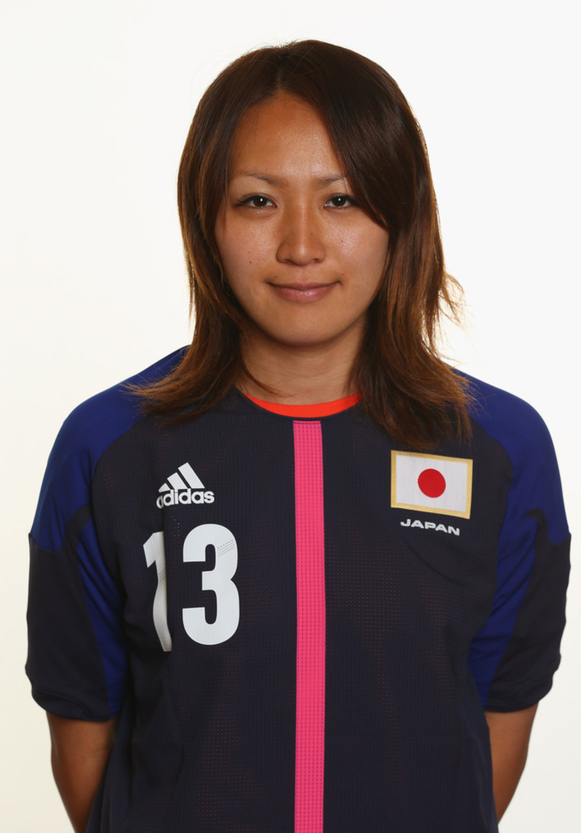 Karina Maruyama stands for a team photo session in Coventry, England.