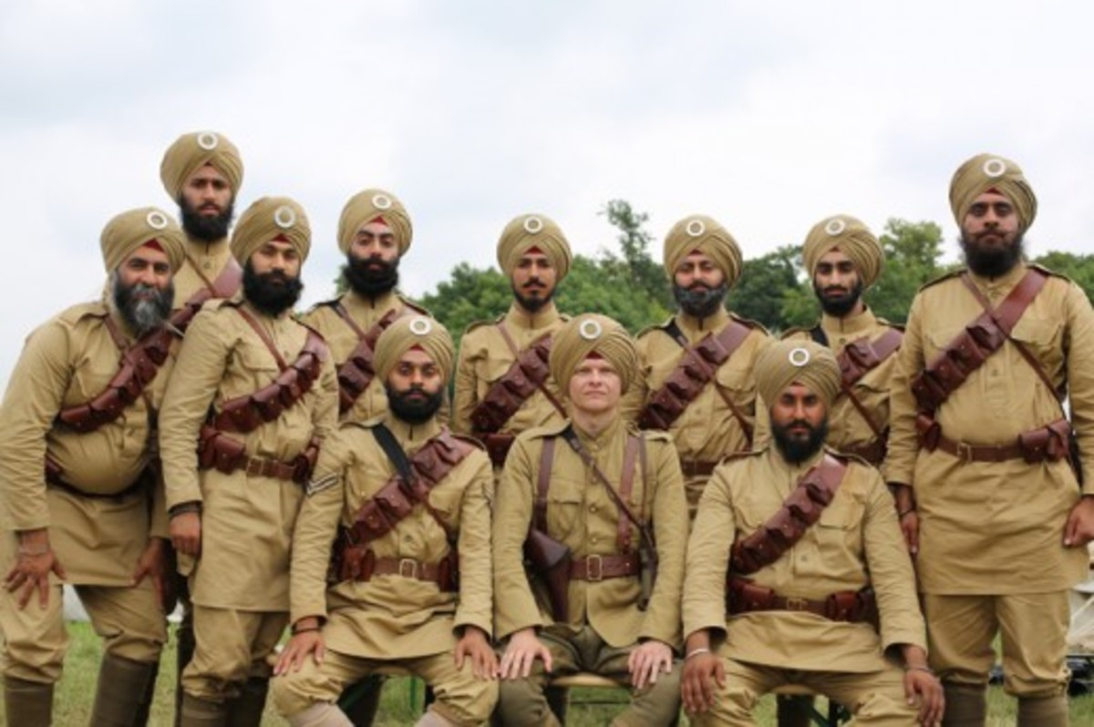 Sikh  troops with British officer