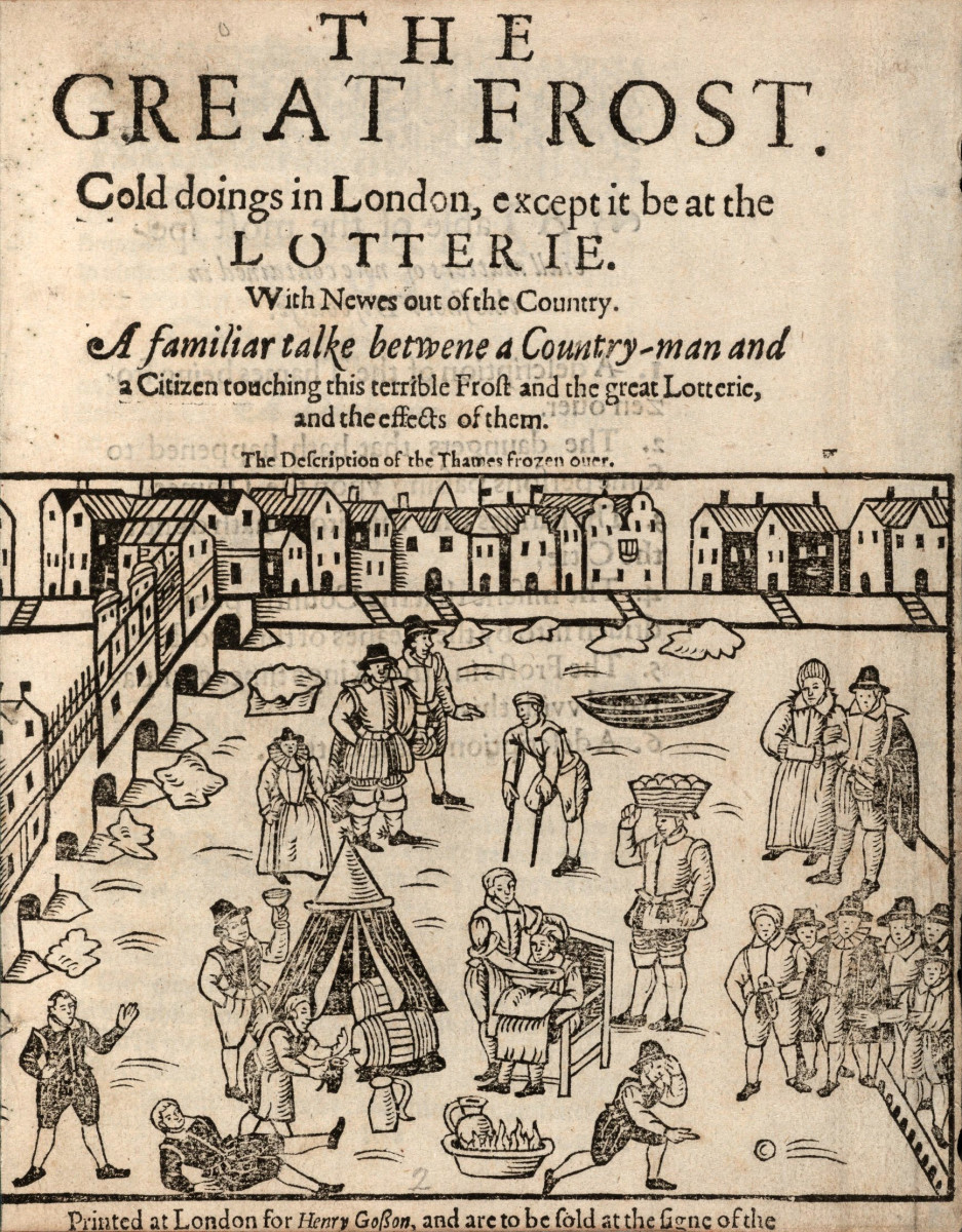 Late Stuart era, 'Great Frost Fair Lotterie' - wintertime social life extended to the river near London Bridge