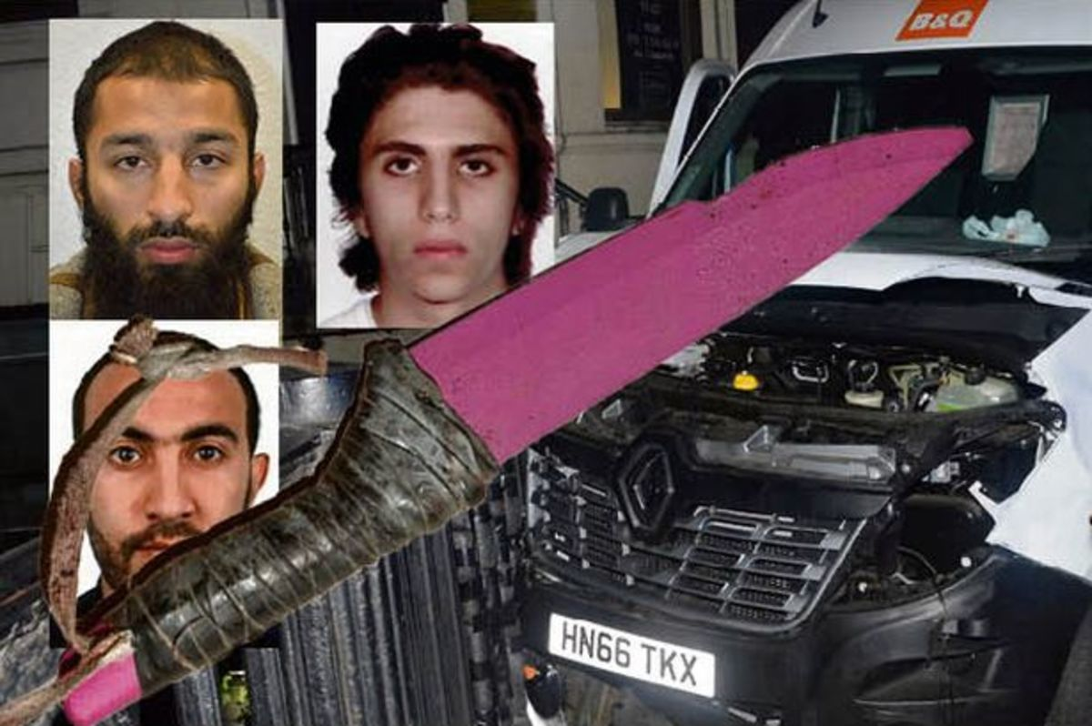 The three terrorists and their van, rented for the attack