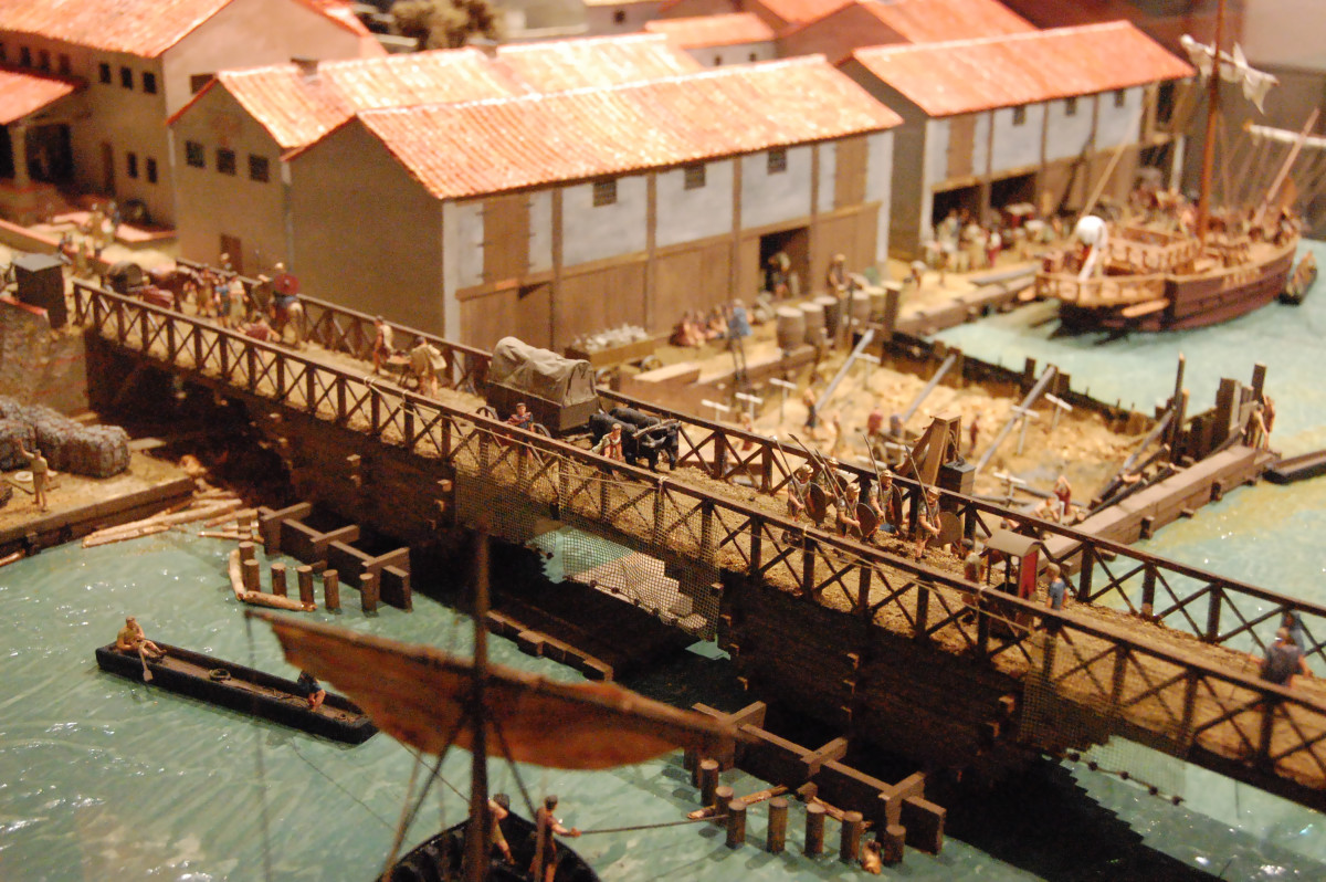 Londinium, AD 85-90 - the first London Bridge spanned the Thames to carry Watling Street, the Roman road that linked Rochester with London and Chester