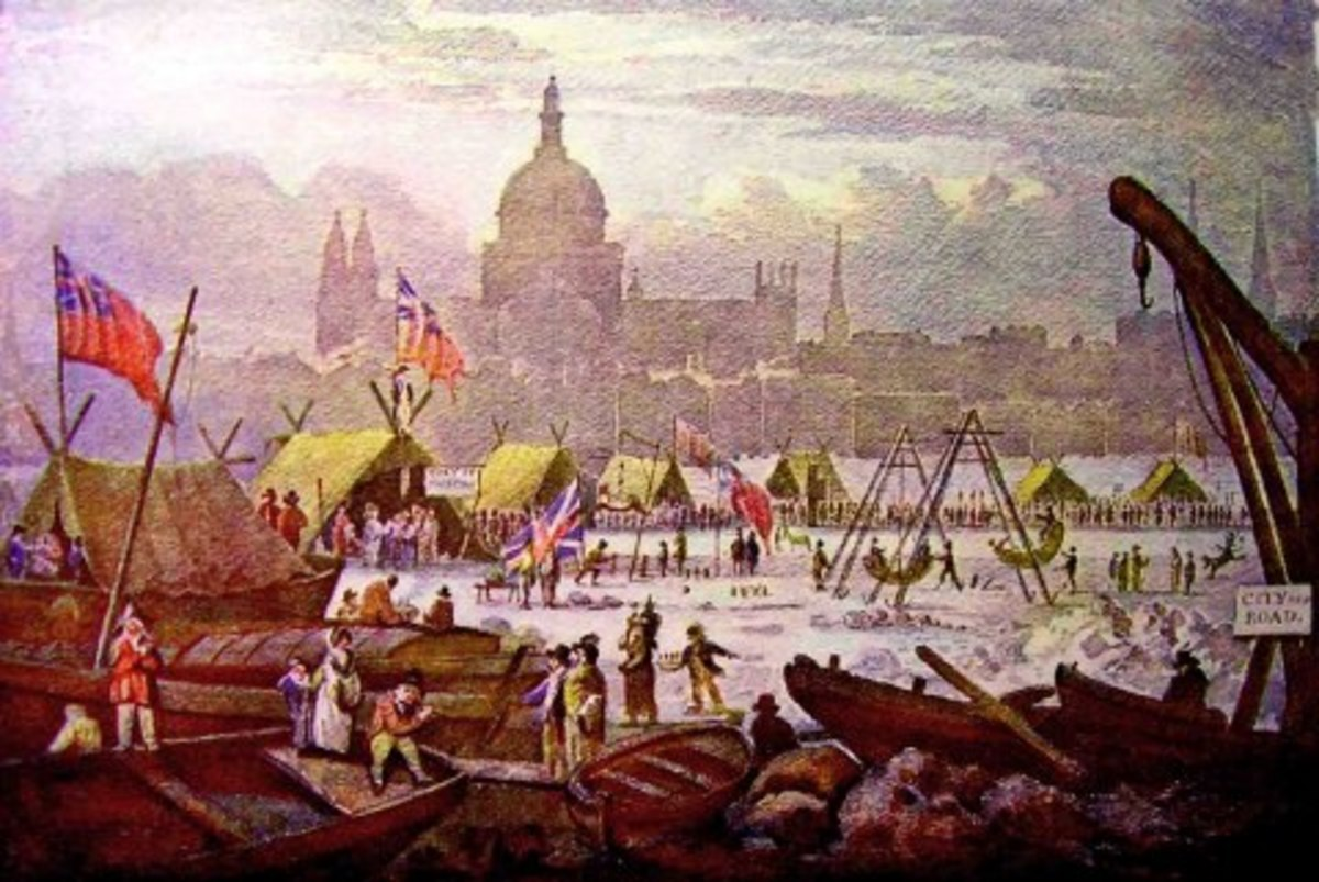 The last ever Frost Fair, 1814. This was during the late Regency, the year before Waterloo. In another seventeen years we would see a new London Bridge