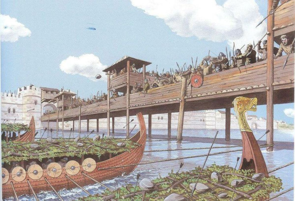 A perception of Olaf's ships as they pull away from the bridge with cables attached to the bridge timbers. They had used the thatched roofs of dwellings from Greenwich to shelter from the arrows of Knut's Danes on the bridge.