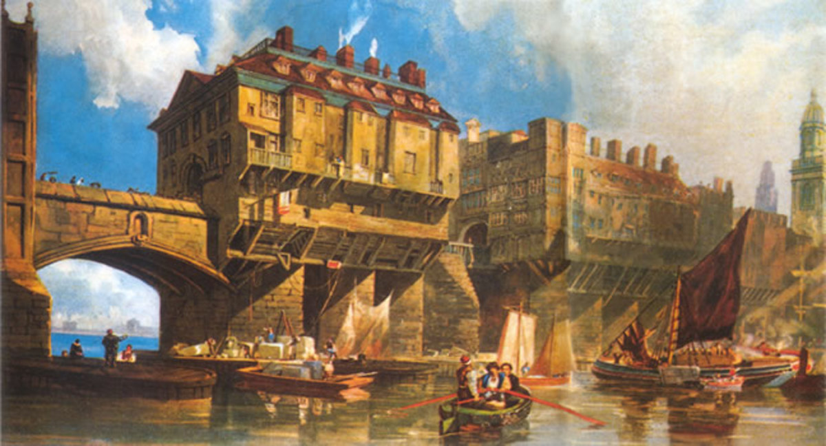 Old London Bridge stood between the late 12th and early 19th Centuries, in time built on with Nonsuch Palace, other residences and shops