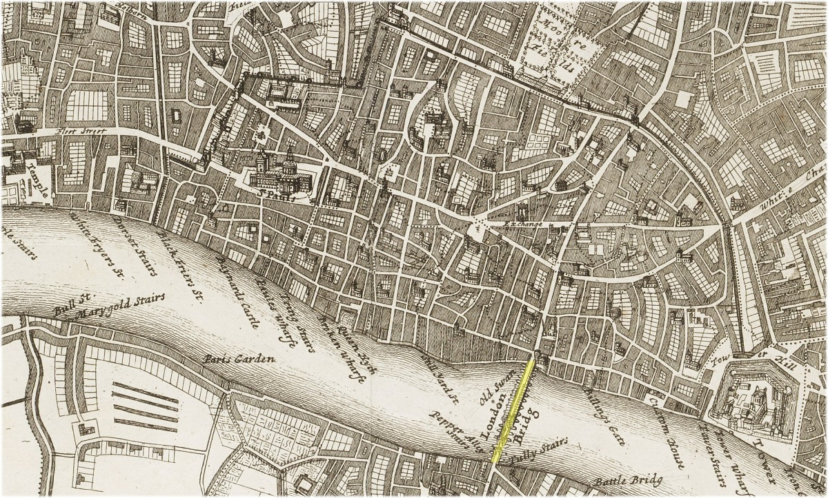 A map of the City of London dated 1720, when the old bridge still stood, severely damaged for another hundred-and-eleven years
