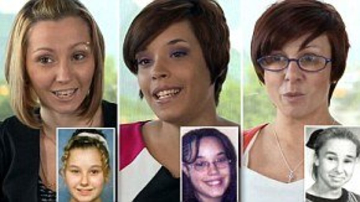 The three women abducted by Ariel Castro along with their missing persons photos. From right: Amanda Berry, Gina Dejesus, Michelle Knight
