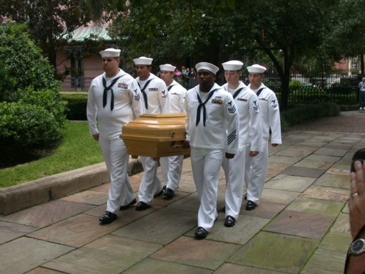 Pulaski's white oak casket, donated by families in Poland.