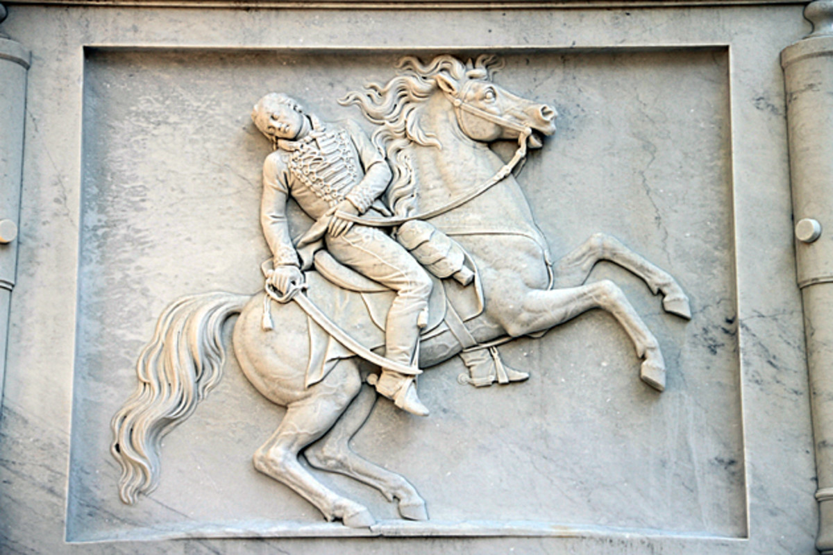 Upclose view of relief work on base of Pulaski monument.