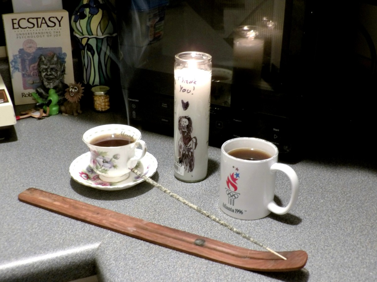 Give thanks after she has helped you in a way you feel drawn to. Here I lit copal, a candle and offered two coffees.