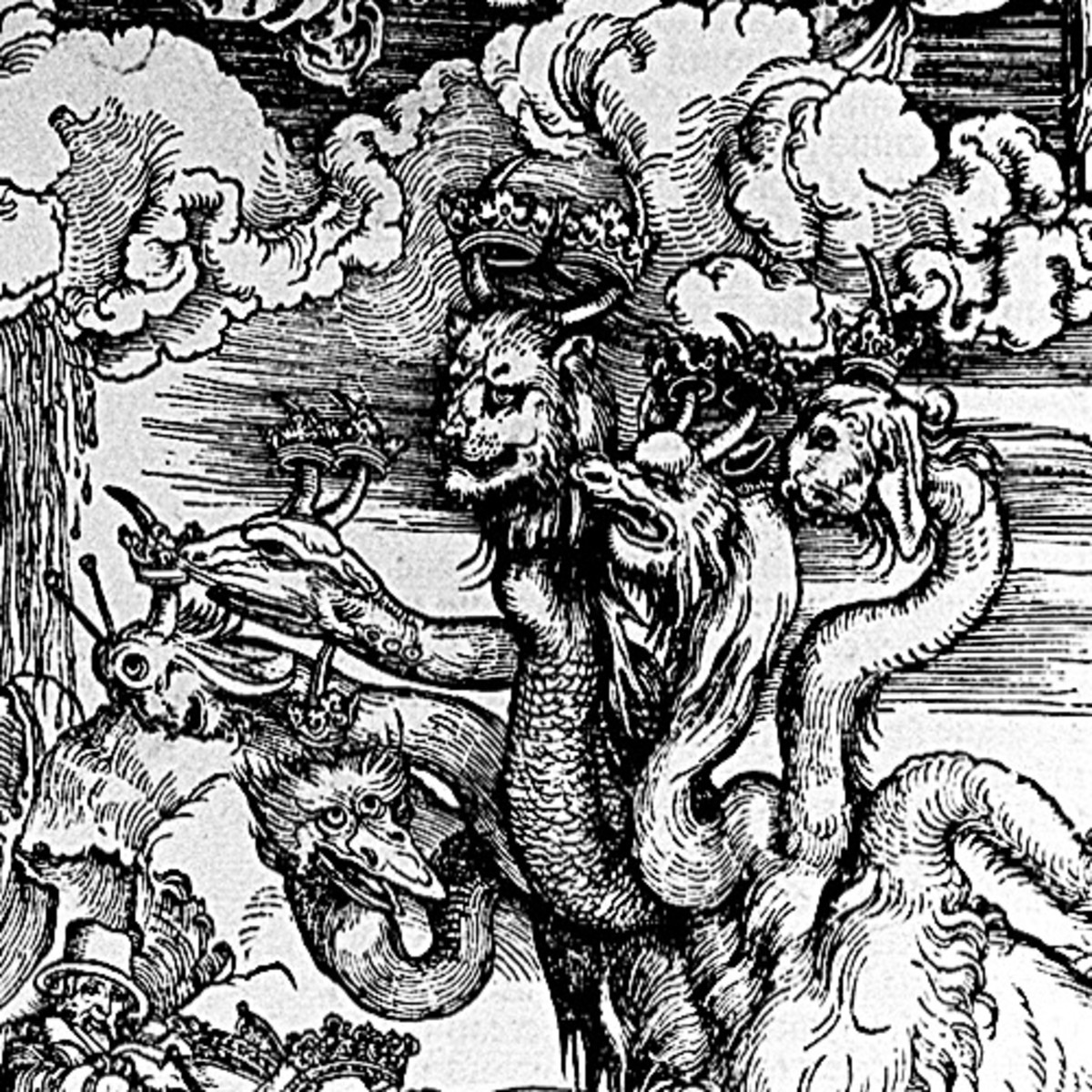 "Here we show a portion of 'The Sea Monster and the Beast with the Lamb's Horn' - the thirteenth Woodcut from the suite by Albrecht Durer known as ""The Apocalypse""."