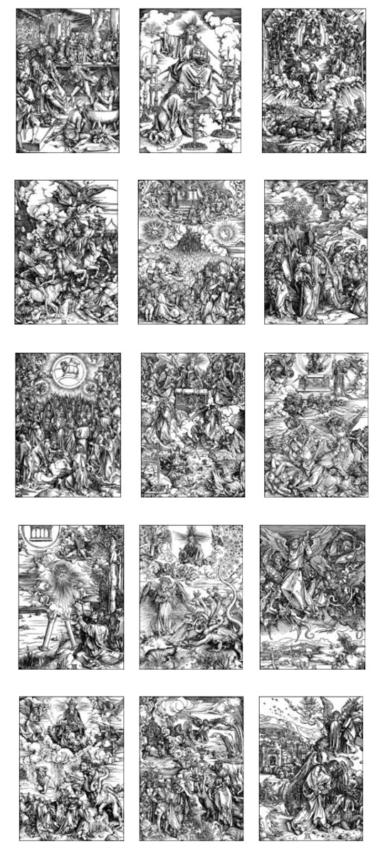 "Here we show each of the 15 designs in Albrecht Durer's suite known as ""The Apocalypse""."