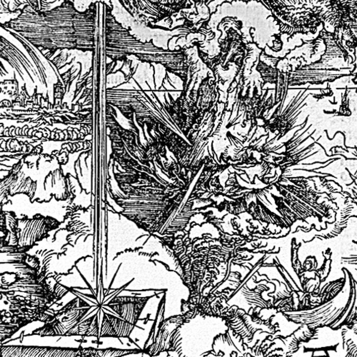 """Here we show another portion of """"The Seven Trumpets are Given to the Angels"""" by Albrecht Durer."""