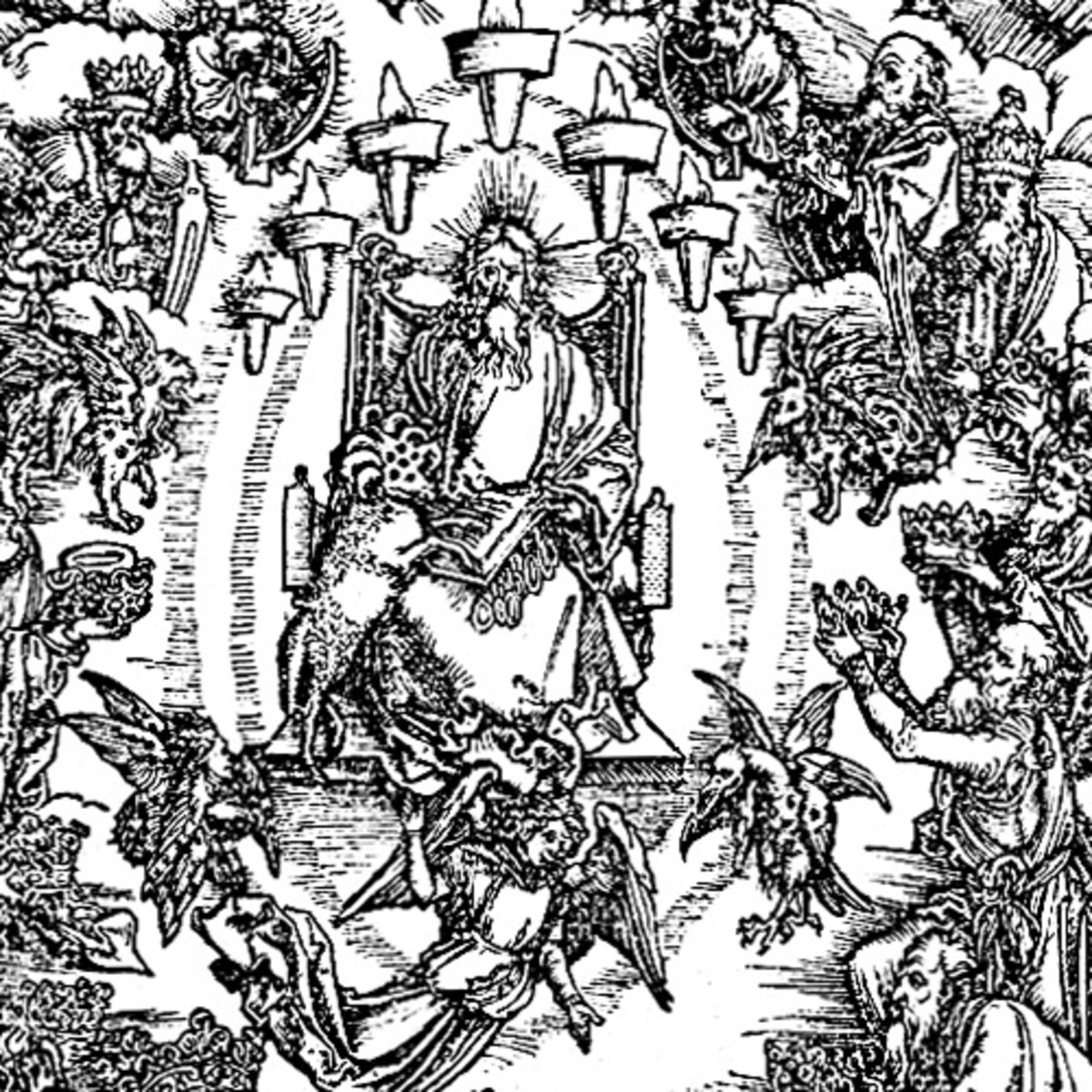 "Here we show a portion of 'St John and the Twenty-four Elders in Heaven' - the third Woodcut from the suite by Albrecht Durer known as ""The Apocalypse""."