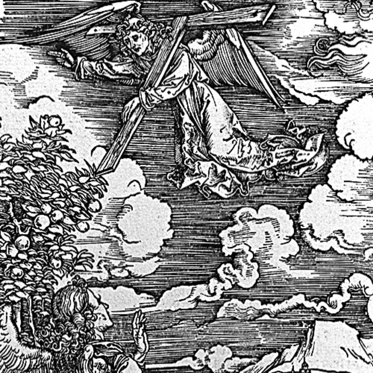 "Here we show another portion of ""Four Angels Staying the Winds and Signing the Chosen"" by Albrecht Durer."