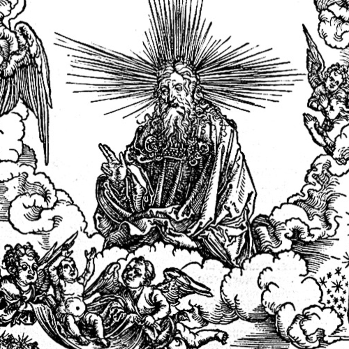 """Here we show another portion of """"The Woman Clothed with the Sun and the Seven-headed Dragon"""" by Albrecht Durer."""